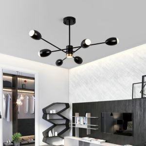Lustre moderne noir abat-jour en acrylique pour salon salle d'étude