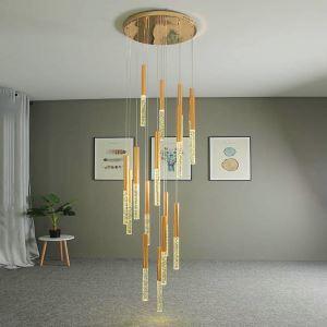 Suspension contemporaine LED en aluminium cristal pour salon chambre
