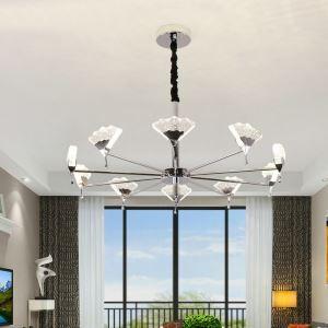 Suspension LED L80cm abat-jour en cristal pour salon chambre, style contemporain