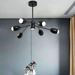 Suspension noire à LED en fer acrylique pour salon chambre à coucher