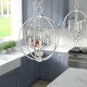 Suspension nordique en fer cristal globe créatif pour salon chambre
