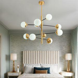 Lampe suspendue en métal or abat-jour en verre pour salle chambre