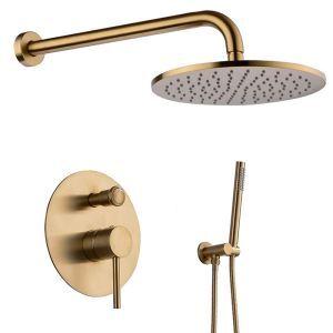 Colonne de douche encastrée avec douchette à main, noir/or, 3 trous