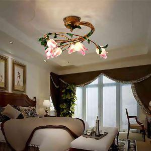 Plafonnier LED Fer fuchsia tulipe à six lampes luxe pour salon