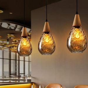 Suspension en bois verre style rétro nordique pour bar salle à manger
