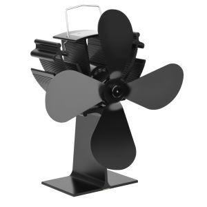 Ventilateur à poêle en alliage d'aluminium noir pour le cheminée