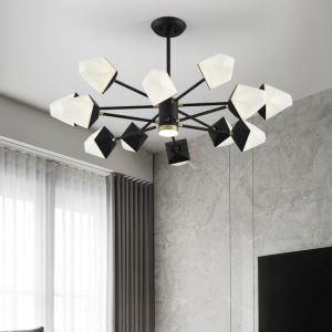 Suspension LED polygone en verre fer branche pour salon salle à manger