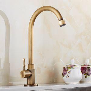 Robinet de lavabo/vasque H 22 cm  en cuivre brossé rétro pour salle de bain