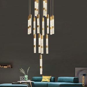 Lampe suspendue or moderne abat-jour en cristal pour salon chambre