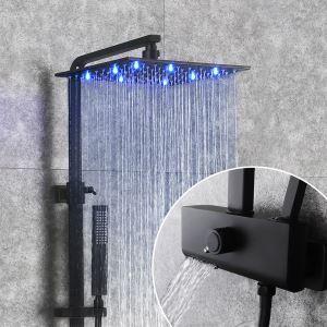 Colonne de douche noire relevable avec pommeau à LED pour salle de bains