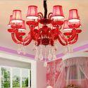 Lustre en cristal élégant rouge à 10 lampes pour salon chambre