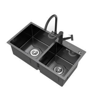 Contemporain évier épais à deux bacs en acier inoxydable noir nano pour cuisine