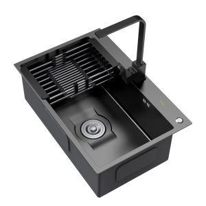 Évier en acier inoxydable noir avec égouttoir distributeur de savon et panier de vidange