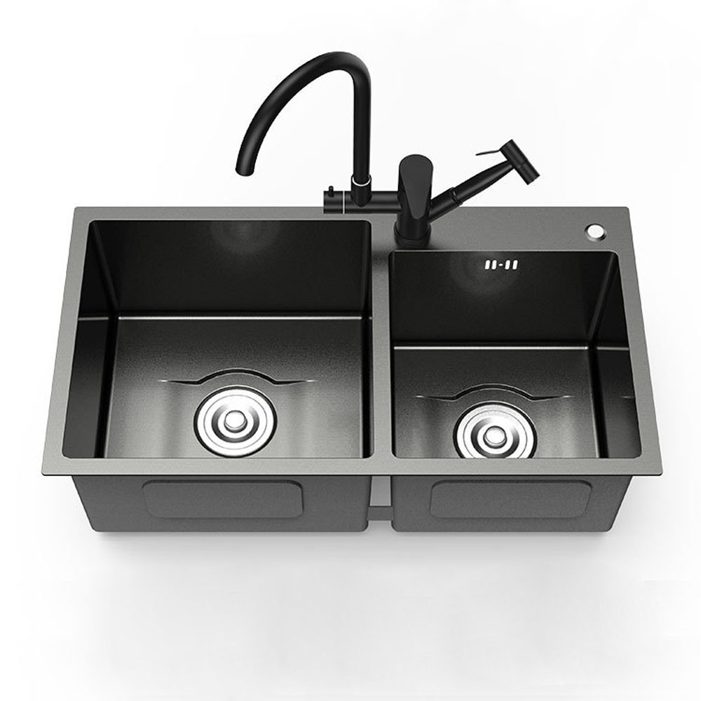 Evier Le Plus Resistant moderne évier à 2 bacs en acier inoxydable noir nano pour