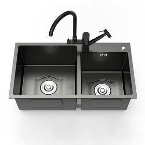 Moderne évier à 2 bacs en acier inoxydable noir nano pour cuisine