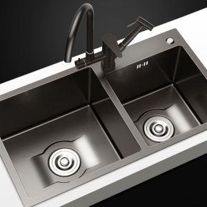 Évier épais à deux bacs en acier inoxydable noir pour cuisine, style moderne