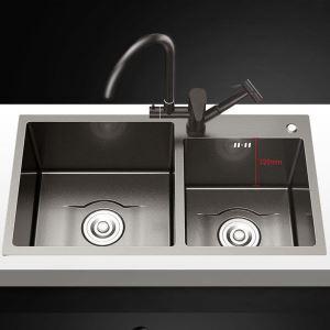 Évier épais en acier inoxydable noir nano pour cuisine double évier
