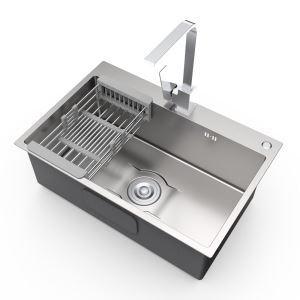 Évier épais en acier inoxydable argenté nano avec distributeur de savon pour cuisine