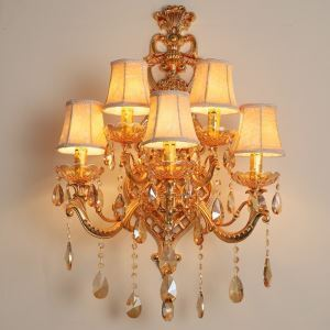 Applique murale en cristal européen à 5 lampes pour salon chambre à coucher