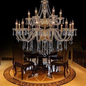 Lustre baroque en cristal d'or luxe européen pour salon chambre hôtel