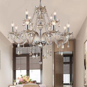 Lustre en cristal luxe cognac européen pour salon chambre hôtel