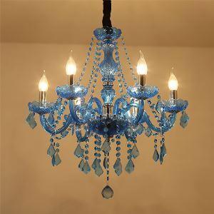 Lustre baroque couleur bleue en cristal pour chambre à coucher salon hôtel