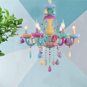 Lustre coloré en cristal luxe abat-jour en verre pour chambre salon