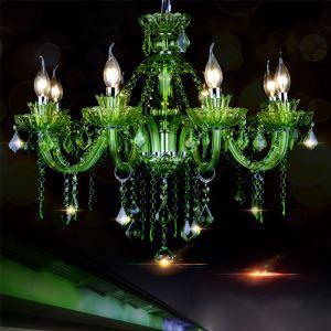 Lustre baroque vert suspension européenne en cristal pour salle de séjour