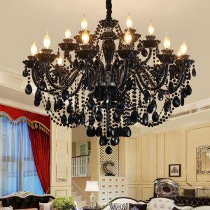 Lustre en cristal noir européen design pour salon chambre à coucher
