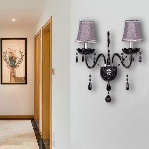 Applique murale noire en verre cristal pour salon couloir