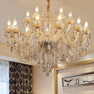 Lustre baroque en verre cristal couleur cognac pour chambre salle à manger