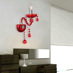 Applique murale rouge en cristal pour salon chambre à coucher, style simple