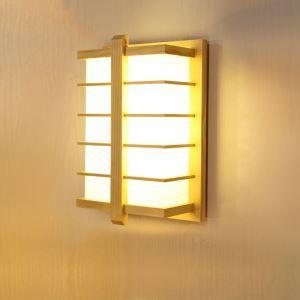 Applique murale LED en bois massif style moderne pour chambre à coucher couloir