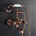 Mitigeur de douche à main cuivre H28cm 2 poignées or rose pour salle de bain