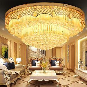 Lampe de plafond rond en cristal pour salon chambre