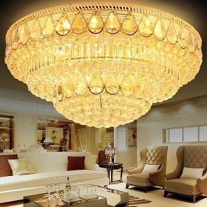 Moderne lampe de plafond rond LED en cristal luxe pour salon chambre
