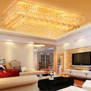 Plafonnier or rectangulaire à LED en cristal luxe pour chambre à coucher hall cuisine