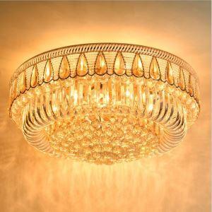 Contemporain plafonnier rond à LED en cristal luxe pour chambre salon hall