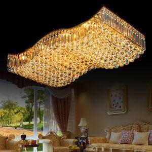 Plafonnier européen à LED en cristal doré design de forme vague pour salon chambre à coucher