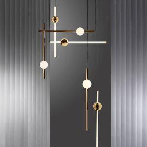 Suspension contemporaine à LED or lampe décorative pour salon chambre café
