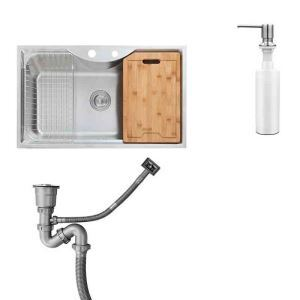 Evier à encastrer inox 1 bac 1 égouttoire 1 distributeur de savon L77cm