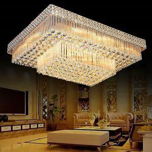 Plafonnier européen à LED en cristal luxe pour salon chambre à coucher