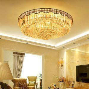 Plafonnier LED moderne simple en cristal pour salle de séjour