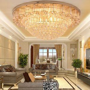 Plafonnier or rond à LED en cristal luxe pour salon hall cuisine, style européen