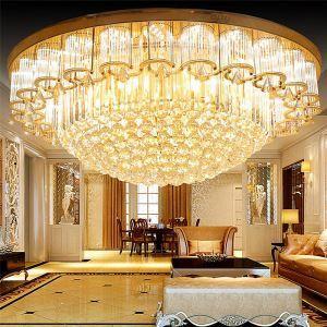 Plafonnier LED européen rond lumière en cristal pour chambre salle d'étude