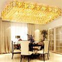 Lampe de plafond à LED rectangulaire en cristal pour salon chambre, style européen
