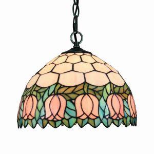 Suspension en verre tiffany à motif fleur rose luminaire pour chambre salon cuisine chambre