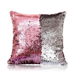 Taie de coussin 2 couleurs magique rose et argent 40*40cm