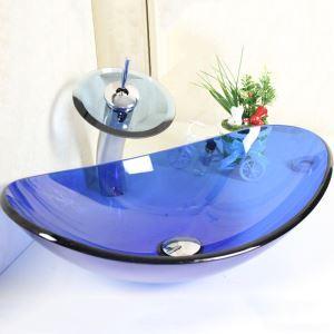Lavabo en verre L 54 cm bleu ovale avec robinet cascade pour salle de bain