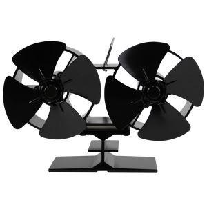 Ventilateur à poêle à quatre feuilles double têtes pour cheminée